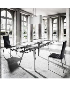 Mesa extensible acero y cristal