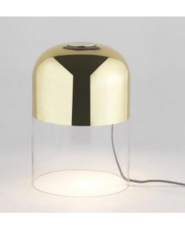 Lámpara sobremesa cristal dorado
